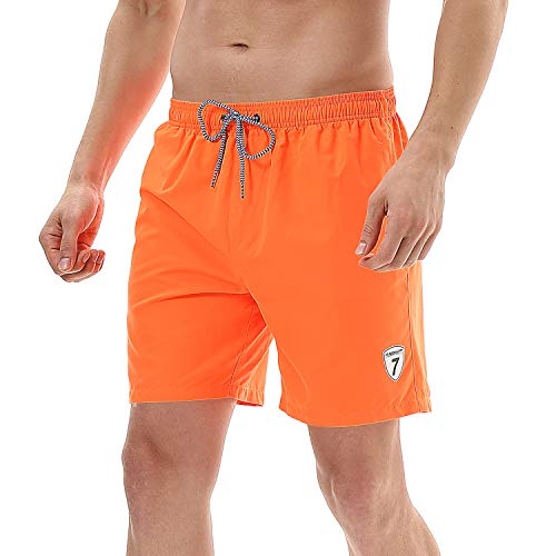Batuzon Mens Swim Trunks Solid Beach Shorts Quick Dry Swimwear Bathing Suits with Breathable Mesh Lining (Fluorescent Orange, XL)