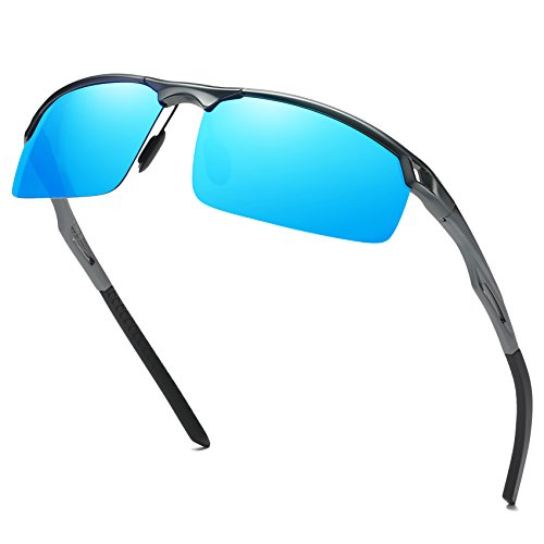 avec de Hommes de Gunmetal UV400 sports 8550 air Lunettes verres de soleil soleil colorés plein incassables polarisées Bleu Duco de Lunettes soleil Lunettes pour AqUzx557