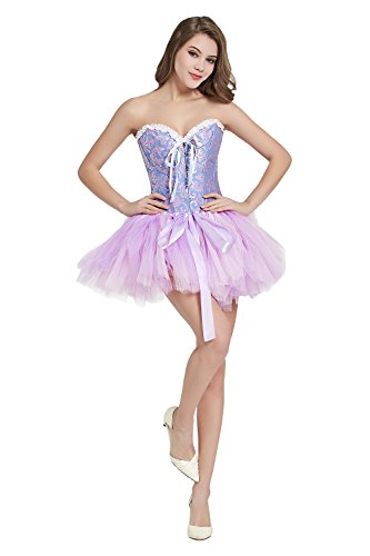 Pink Corset Dress (Minyue Women's Vintage Tutu Petticoat Ballet Bubble Skirt Lady Mini Halloween Skirt Multi-Colored (Pink & Lavender))
