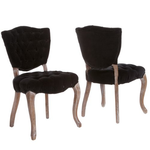 Christopher Knight Home 230344 Violetta Tufted Black Fabric Dining Chairs (Set of 2),