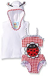Baby Buns Baby Girls\' Lady Bug Terry Cover Up Swim Set, Multi, 6-9 Months