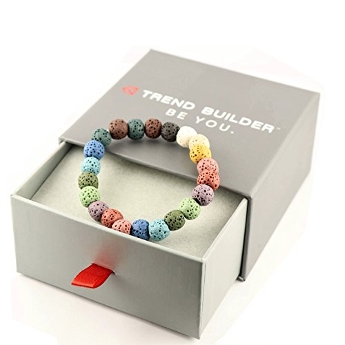 Trend Builder Inc | New Natural Lava Rock Stone Essential Oil Diffuser Tassel Bracelets for Aromatherapy | FIRST AID rescue aroma bracelet kit | Distance Friendship Mala Tibetan String Prayer Beads | 20 OPTIONS | Gift Box Included | For Man Women Couples  ()