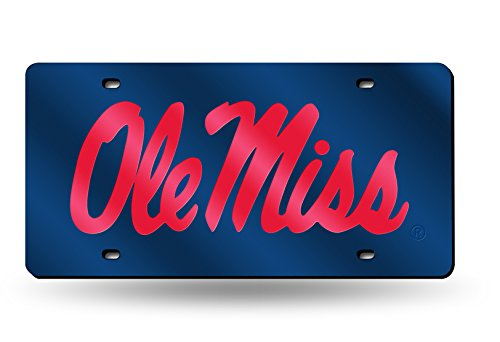 Rico Industries NCAA Mississippi Ole Miss Rebels Laser Inlaid Metal License Plate Tag, Blue, 6
