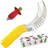Fresh Tools #1 Watermelon Slicer Corer & Server 18/10 Stainless Steel Knife for Right Slice As Seen On TV | Melon ?utter Non-Slip Silicone Handle FREE GIFT Strawberry Huller | Kid Friendly