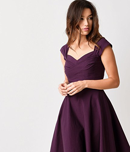7963b87169552 Stop Staring! Mad Style Eggplant Cap Sleeve Swing Dress at Amazon Women s  Clothing store