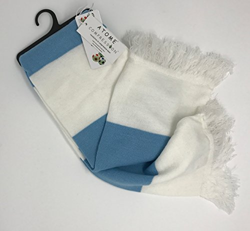 Fun Fluffy Scarf (Varsity Scarf Unisex with Double Layer Knit, & White Tassel (Sky Blue))