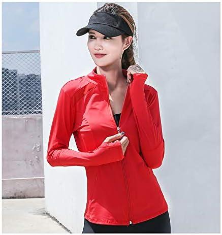 レディーストレーニング服ヨガ服ジャケットフルジッパー立ち襟アクティブウェアランニングトラックジャケットシャツ,赤,S