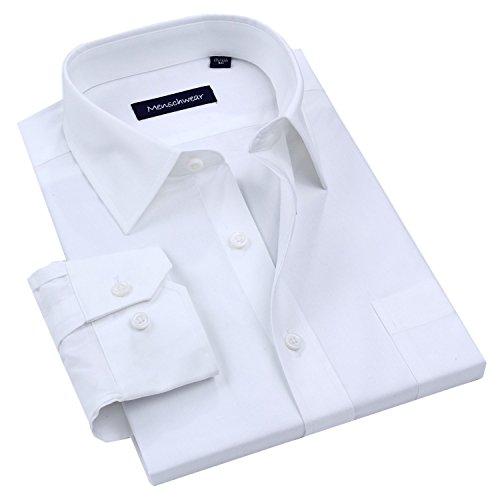 Menschwear Men's Shirt Long Sleeve 100% Cotton White Dress MC252 (M) - Formal Cotton White Shirts