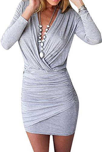 Mini Solid neck Cruiize Dress V Long Womens Ruched Sexy Sleeve Gray Bodycon Awfw0Fqz