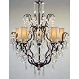 New! Wrought Iron & Crystal Chandelier With White Shades! H27″ x W21″ For Sale