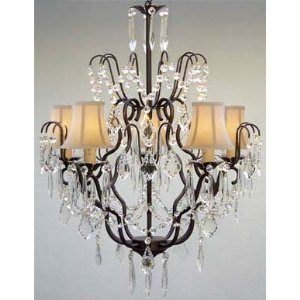 White Wrought Iron (New! Wrought Iron & Crystal Chandelier With White Shades! H27