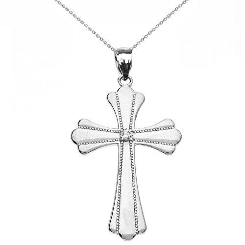 Collier Femme Pendentif 10 Ct Or Blanc Solitaire Diamant Poli Élevé Milgrain Croix (Médium) (Livré avec une 45cm Chaîne)