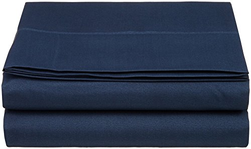 King Size Flat Sheet 1800 Thread Count Double Brushed Microfiber Top Sheet Only - Soft, Hypoallergenic, Wrinkle, Fade, Stain Resistant (King, Navy Blue) (Sheet King Blue Flat)