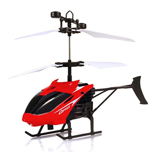 Nesee Kid Helicopter Toys,Flying Mini RC Infraed Induction Helicopter Aircraft Flashing Light Toys … (Red)