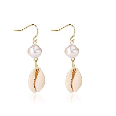 Gifts Bohemian Gold Metal Starfish Conch Cowary Shell Hoop Dangle Earrings