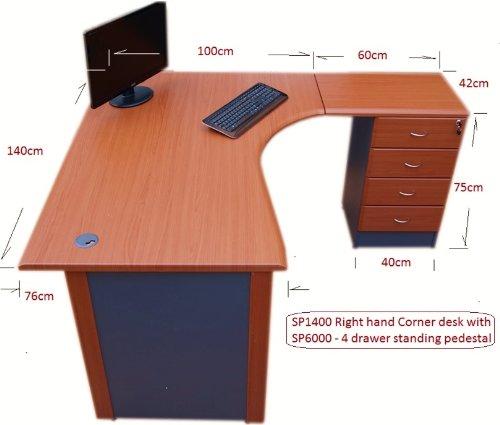 1.4 M Office Corner Desk Right Hand With 4 Drawer Pedestal   (Cherry / Dark  Grey): Amazon.co.uk: Kitchen U0026 Home