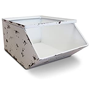 White Metal Stackable Storage Bins (Set of 2) Industrial Drawer Storage Stacking by Urban Legacy