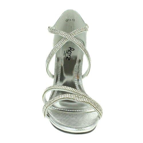 Women Ladies Crystal Diamante Evening Wedding Party Prom Bridal High Heel Stilettos Sandals Shoes Size Silver. 3PaDBAO
