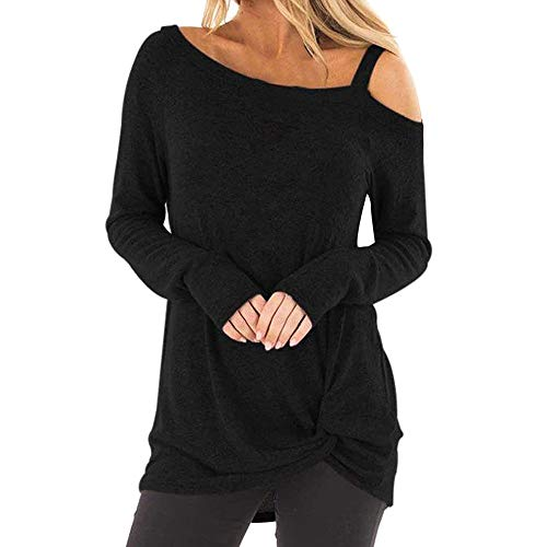 TWGONE Cold Shoulder Tops for Women Long Sleeve Knot Side Casual Soft O Neck Twist Blouse T-Shirt(X-Large,Black-2)