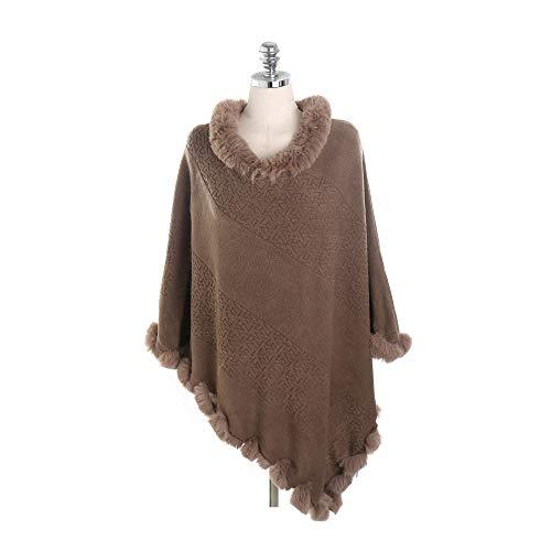 Châle Pour Automne Poncho hiver Cape Mode Fourrure Manteau Femme Liulife  Col De Kaki qSzXwBxa 6a49817f228
