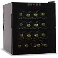 16 Bottle Capacity Thermoelectric Wine Cellar - Electronic Touch Controls & LED Display - Black Cabinet with UV Glass Door & Interior Light by BLACK+DECKER