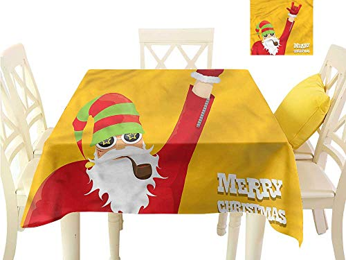 WilliamsDecor Table Cover Indie,Biker Santa Smoking Pipe Printed Tablecloth W 36