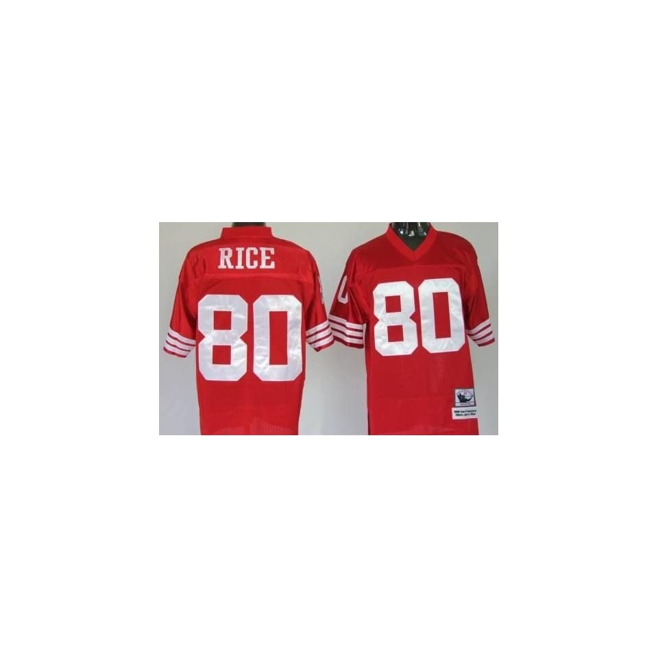Jerry Rice #80 San Francisco 49ers Replica Throwback NFL Jersey Red Size 50 (Large)