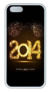 2114 Happy New Year Fireworks TPU Silicone Rubber iPhone 5 and iPhone 5S Case Cover - White