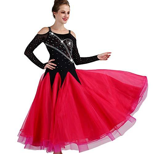 garudaレディース社交ダンスドレス パーティーダンス発表会ワンピースドレス キラキラ付 B07J37XD1F 黒赤,Large