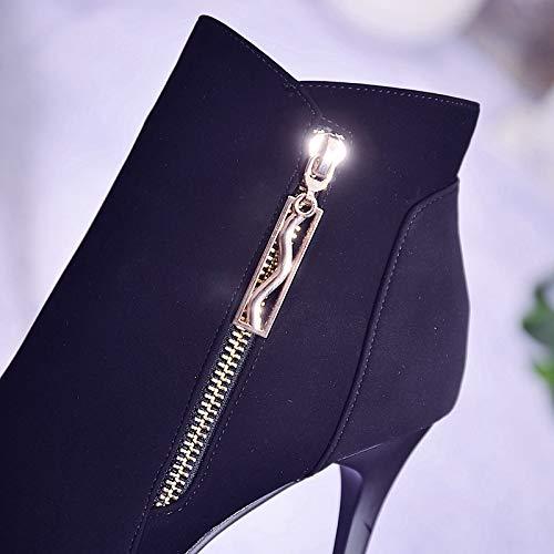 AJUNR Modische Arbeit Damenschuhe Damenschuhe Damenschuhe Kurze Stiefel mit hohen 10cm im frühling und Herbst witze Spitze Mode high Heel doppelter reißverschluss Mode Stiefel 13e195