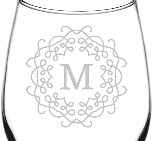 (Monogrammed M) Unique & Elegant Border Monogram Inspired – Laser Engraved 12.75oz Libbey All-Purpose Wine Taster Glass For Sale