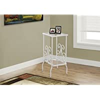Monarch Metal Accent Table with Tempered Glass, White, 30