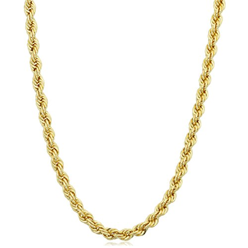 Kooljewelry 14k Yellow Gold Filled Men's 3.2mm Rope Chain Necklace (22 inch)
