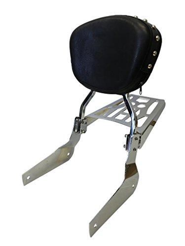 Sissy Bar Backrest & Luggage Rack for 04+ Honda Shadow Aero VT750 - Studded Contoured
