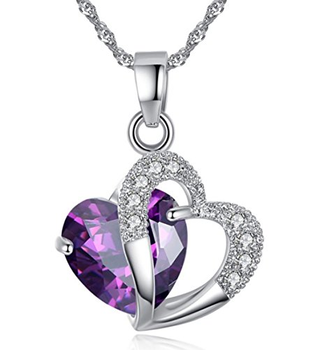 Valentines Day Gift Necklace Women Fashion Jewelry 18K White Gold Plated Sterling Silver Neckless-2 Ct. Purple Created Amethyst Double Heart Pendant Necklace Women Mom Gift for Mom Wife Daughter