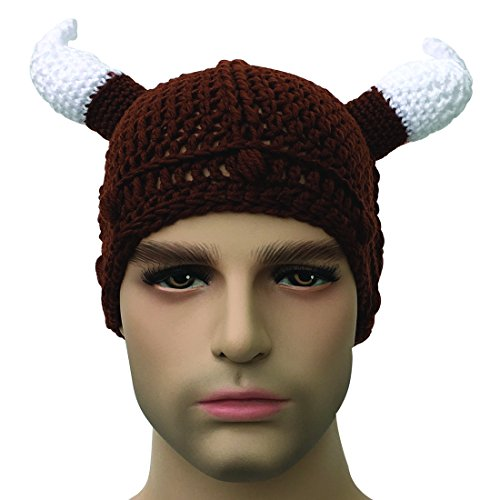 Kafeimali Unisex Barbarian Knight Knit Hat Viking Horns Beanie Funny Caps a46270cb3547