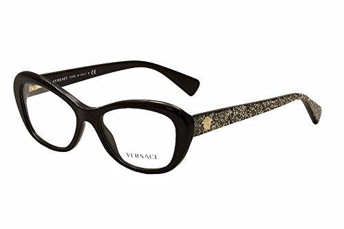 Versace Women's VE3216 Eyeglasses Black - Cat Frames Eye Versace