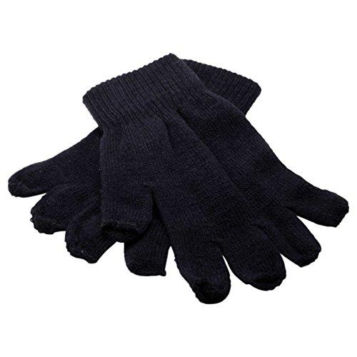 Tipless Gloves (Winter Fingerless Gloves Warm Half Finger Knitted -Unisex Standard Size - Midnight Blue)