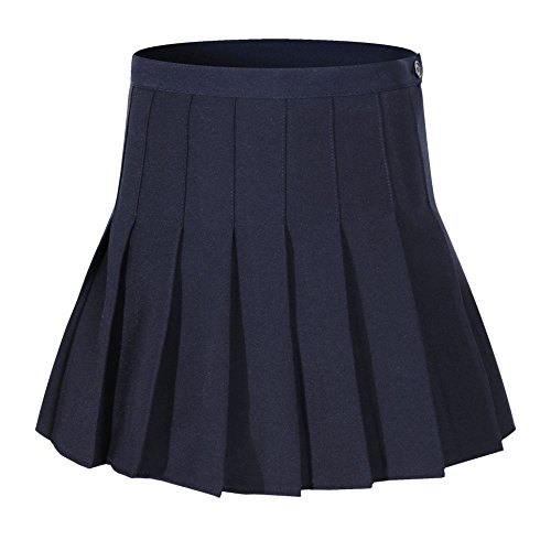 Pleat Mini - Beautifulfashionlife Women High Waist Solid Pleated Mini Slim Single Tennis Skirts (2XL, Dark Blue)