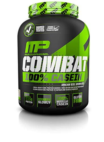 (MusclePharm Combat 100% Casein Supplement, Casein Protein Powder, Muscle Supplement, 100% Micellar Casein, Rebuilds Muscle, 28 Grams of Slow-Digesting Protein, Vanilla, 4-Pounds, 52 Servings)