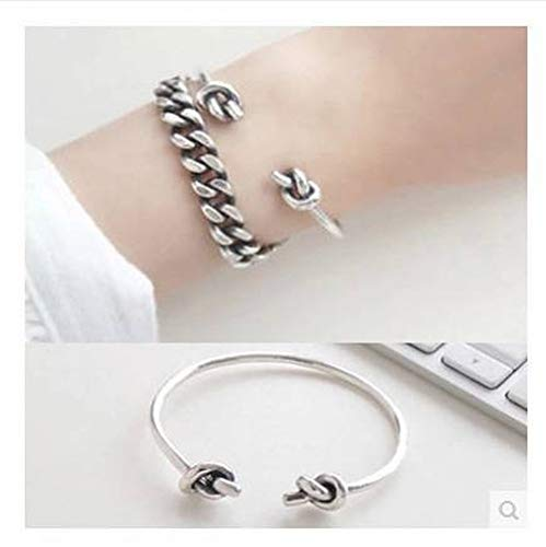 SHOUSHI Women's Vintage 925 Silver U-Shaped Platinum 925 Sterling Silver Bracelet Vintage Simple Double Rope Knot Open Bracelet Ring Wild Art Bracelet Double-Twisted Jewelry, 925 Silver