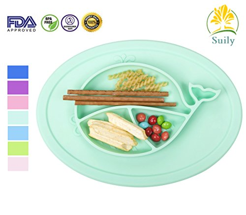 Suily Babies Highchair Feeding Tray Round Silicone Suction Placemat for Children, Kids, Toddlers,Kitchen Dining Table with Built in Plate and Bowl,Little Whale (Tiffany Green) by Suily