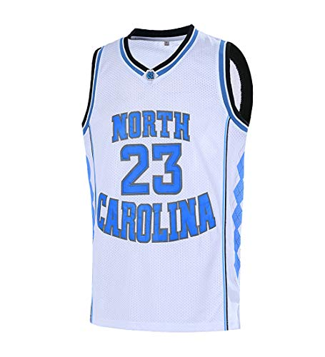 Ausimiar Mens #23 North Carolina Basketball Jersey Retro Jersey Blue S-3XL (White, Large) ()