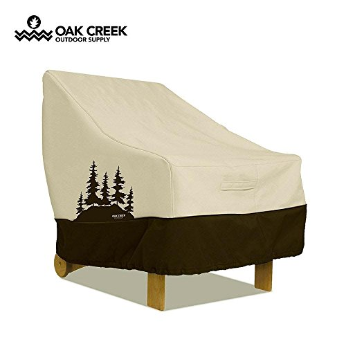 terproof Outdoor Chair Cover with Padded Handles, Air Vents, Click-Close Straps, and Elastic Hem Toggle Cord | Made of Heavy Duty 600D Oxford Fabric with PVC Coating (Creek Oxford)