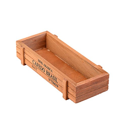 Tinksky Rectangle Wooden Succulent Plant Fleshy Flower Bed Pot Box