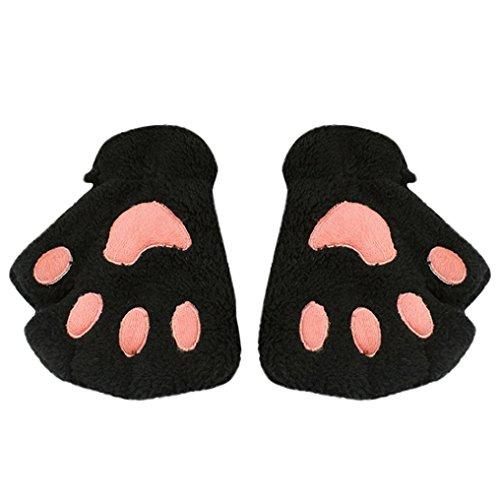 Lavany Cute Kids Cat Claw Paw Gloves Fingerless Girls Half Finger Winter Mitten (Black) -