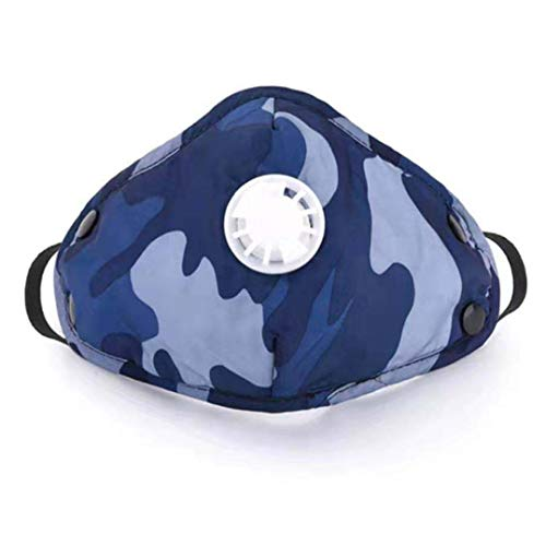 Reusable Filter Outdoor Masks with Respirator Valve Washable Dustmask Camouflage Outdoor Sports Masks Unisex Adult Breathable Face Masks for Pollen Allergy, Running, Cycling (1, Blue)