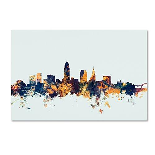 - Cleveland Ohio Skyline Blue by Michael Tompsett, 30x47-Inch Canvas Wall Art
