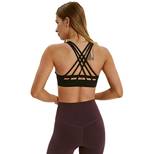 (TERODACO Women's Yoga Bra Cross Back Wireless Padded Full Support for Petite Women Workout Pilates Sports Girls Tops Activewear Black)