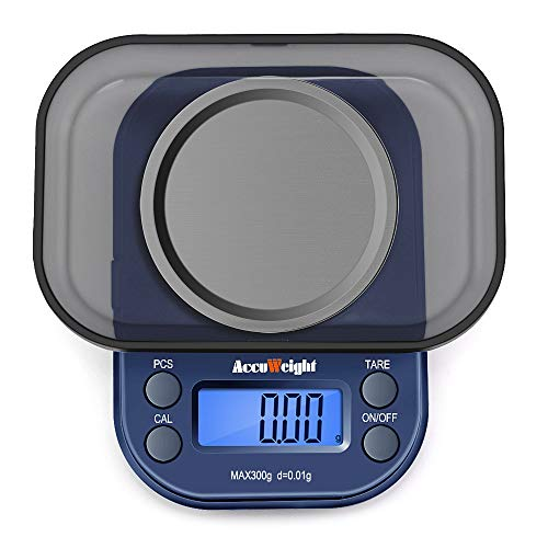 ACCUWEIGHT 255 Digital Pocket Scales, Jewelry Scales, Portable Mini Electronic Weighting Scales, Multifunctional Scales with Backlight LCD Display, Tare and PCS Features, 300g/ 0.01g
